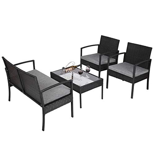 4 PCS Outdoor Patio Rattan Wicker Furniture Set with Table Sofa Cushioned Black Weather-Resistant, Durable Indoor/Outdoor Furnitures