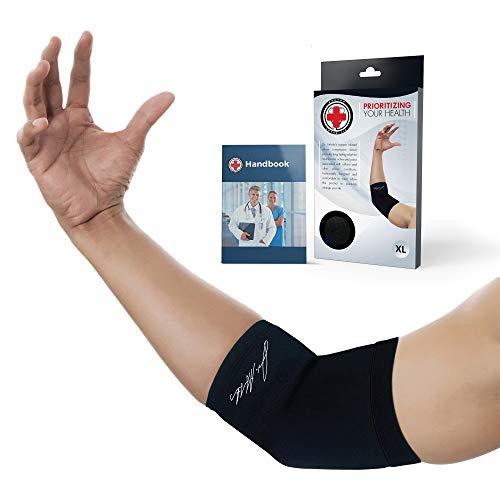 Dr. Arthritis - Ellenbogenbandage Mit Kupferfasern inkl. Handbuch vom Arzt - Kompressive Ellbogen Bandage - Ideale Unterstützung Bei Sport & Schmerzen - Schwarz (XXL)
