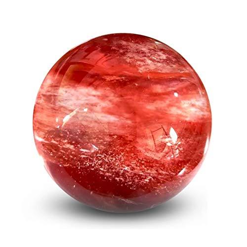 WERWER Natural Hermosa Piedra de fundición roja Decorada con Bola de Cuarzo Oficina en casa para Geomancy Aura Energy Stone Crafts (Size : 1PC)
