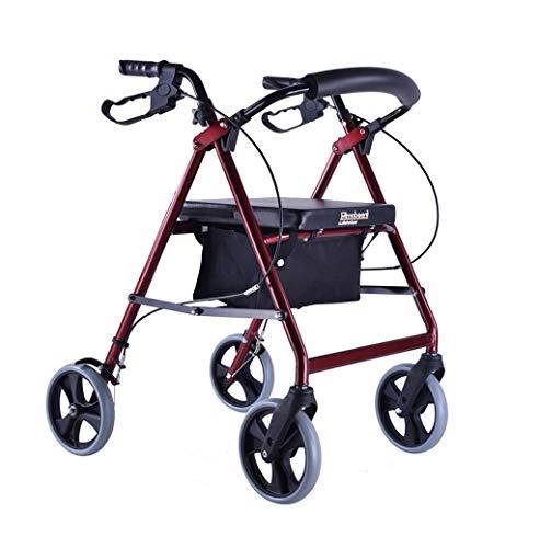 Cxmm Gehhilfen, klappbar alt Mein Roller ältere Einkaufswagen Rote Tasche mit Rädern Sicherheit tragbar