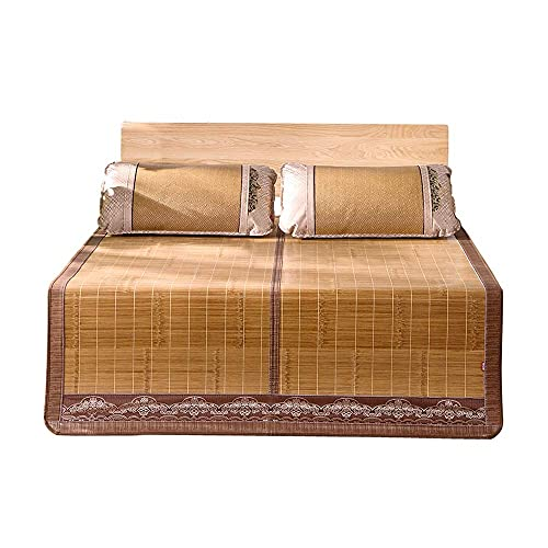 Estera de bambú Estera para Dormir para el Verano Matera de bambú de Doble Cara Matera de Verano Aire Acondicionado Habitación Matera para Dormir Plegable, con Funda de Almohada, Puede ser Usado para