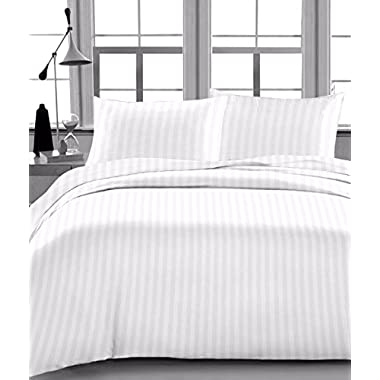 Rajlinen FULL SIZE SHEET SET-100% COTTON- 400 Thread Count- 15  Deep Pocket Drop White Stripe