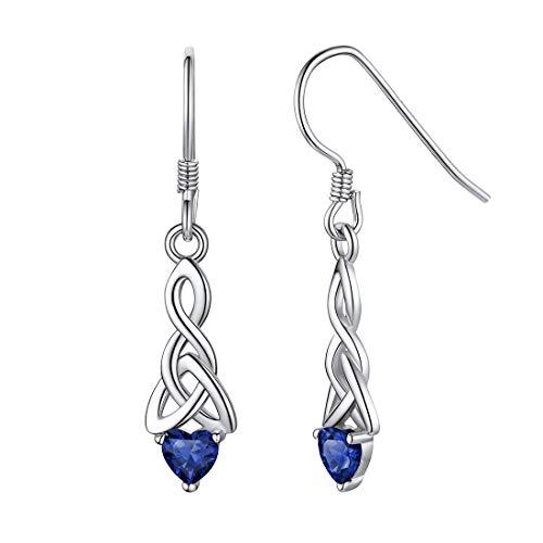 ChicSilver 925 Sterling Silver Dangle Drop Earrings for Women Dark Blue Gem Stone Sapphire Heart Celtic Knot Earrings September Birthstone Jewelry