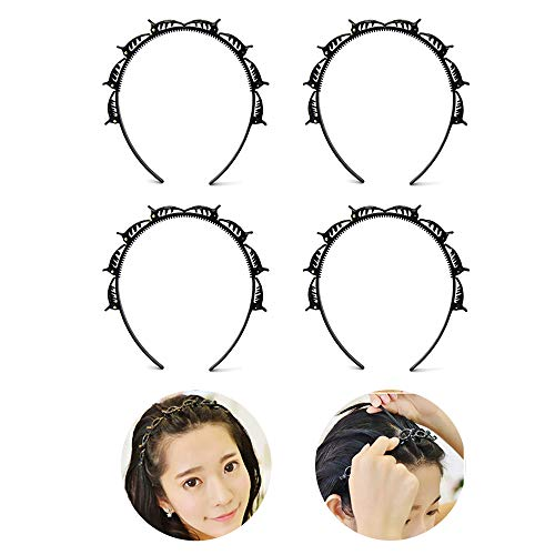 haar flechtwerkzeug,pony haarband,Doppelknall Frisur Haarnadel,Mode Double Layer Twist Haarband,doppelter Pony, einfach zu bedienender Clip (4PCS, Black)