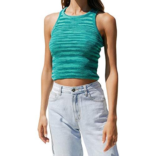 Mujeres Y2k Crop Tank Top acanalado Knit Tie Dye Cami Vest Top Graph Impreso Verano Camisola Camisa Harajuku E-Girl 90s Moda