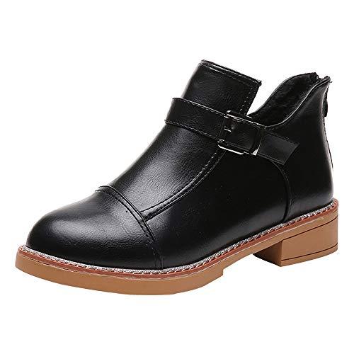 Stiefel Damen, LANSKIRT Round Head Dicker Boden Stiefel Stiefeletten Halbschaft Stiefel Plateau Blockabsatz Knöchelhohe Stiefel Boot Sandalen Sneakers Schuhe