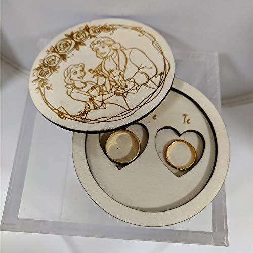 Box porta anillos de madera de la línea romance con forma redonda de la Bella y la Bestia, versión principe, hecho en Italia