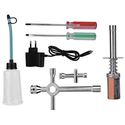RUIZHI Nitro Starter Glow Plug Lgniter Tools Kit Combinado de Botella de Combustible para Redcat HSP Nitro Powered 1/8 1/10 RC Car (EU Plug)
