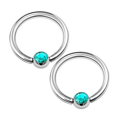 KJM FASHION 2 STK Edelstahl Ball Closure Ring 1,2mm 16g 3mm Kristallkugel Eyebrow Cartilage Septum Tragus Ohrringe Nose Piercing Schmuck 1341