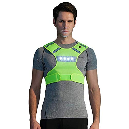 Phrmovs LED Flashing Lighted Reflective Running Vest Fluorescent Mesh Safety Cycling Dog Walking Safety Gear High Visibility