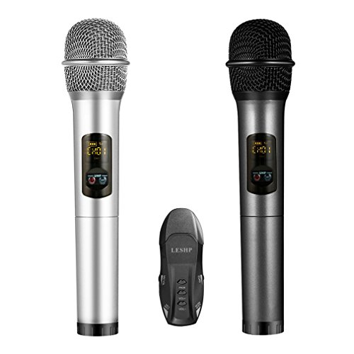 Micrófono Inalámbrico, LESHP Profesional Equipo de Karaoke Bluetooth y Receptor de Micrófono (Dual Channel, banda UHF, grabación, comparte con móvil, para bares, karaoke, fiestas, hogar, reunión)