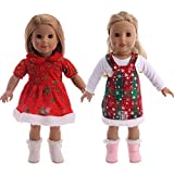 ZSWQ Abiti natalizi per bambole Abiti Abiti Pigiama per bambola Americana da 18 pollici, Regalo di Natale di Nostra generazione