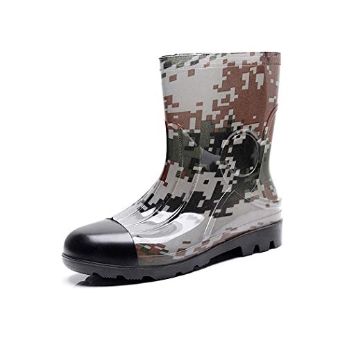 HHYHOME Mens Wellington Boots Wider Calf Rain Boots Womens Wellies Easy Clean Walking Shoes Waterproof Garden Shoes Soft Fabric Lining Working Shoes Best for Wet Weather,Camouflage,43EU