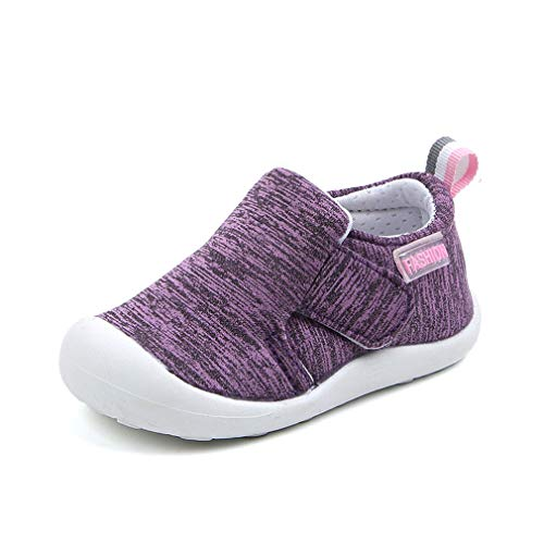 OAISNIT Baby Boys Girls Sneakers Anti Slip Lightweight Soft Toddler First Walkers for Walking Running (6.5 M Toddler, A-Purple)