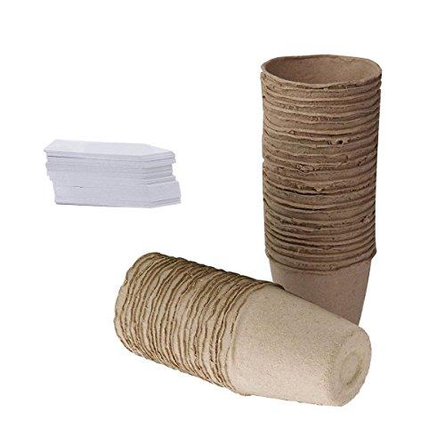 Tlsd Lot de 100 pots de fleurs biodégradables en fibre ronde de 8 cm avec 100 étiquettes en plastique Blanc
