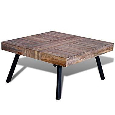 Festnight Solid Square Coffee Side Table Reclaimed Teak Wood End Table Home Office Living Room Furniture Decor
