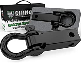 Rhino USA Shackle Hitch Receiver, Best Towing Accessories for Trucks & Jeeps, Connect Your Rhino Tow Strap for Vehicle Recovery, Mounts to 2 Receivers (2