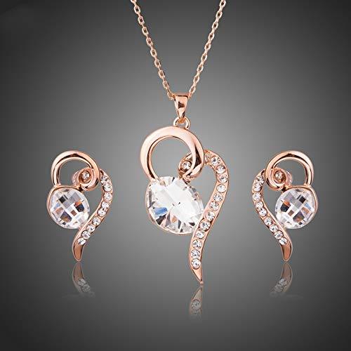 AdronQ Örhängen ringar studs öron naglar hjärta med ovala klara kristallhängen halsband och örhängen smycken set för