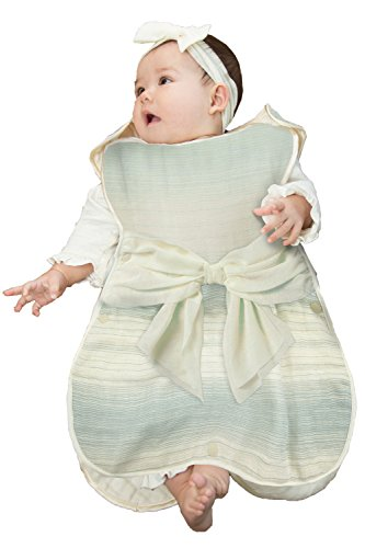 Sweet Mommy 【日本製】 最上級6重ガーゼ ふんわり わたあめガーゼ スリーパー コットン100%リボン シルクパイピング 完全オープン式 おくるみ 毛玉になりにくい 吸汗 保湿 洗濯するたび柔らか 天然素材 エンジェル柄 グラデーション柄 ベビ