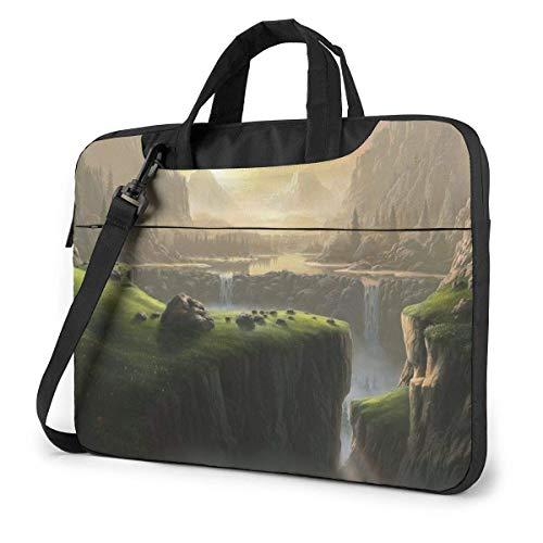 Laptop Umhängetasche 15,6 Zoll, Wasserfall in den Bergen Aktentasche Schutzhülle für Ultrabook, MacBook, Sony, Notebook