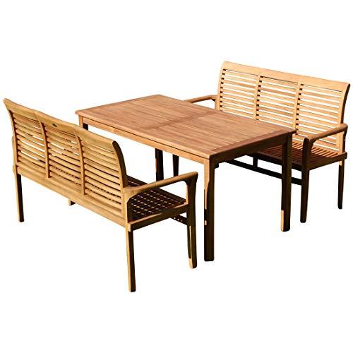 AS-S ASS Teak XL Set Gartentisch + 2 Bänke JAV-Alpen von