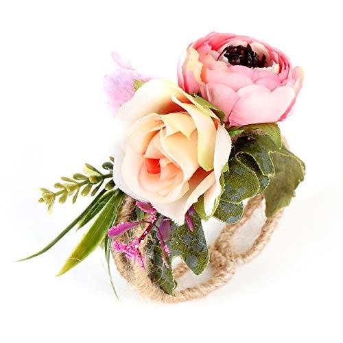 Pulsera de muñeca para novia, flores de boda, dama de honor, novia, bosque, muñeca, flores, paja, brazaletes de boda, accesorios de baile (color a 5)