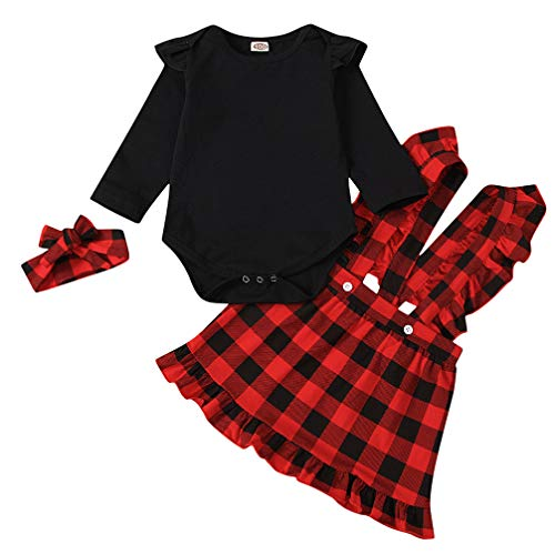 Baby Girl Christmas Outfit Romper Ruffle Plaid Suspender Skirt Headband 3PCS Set Black