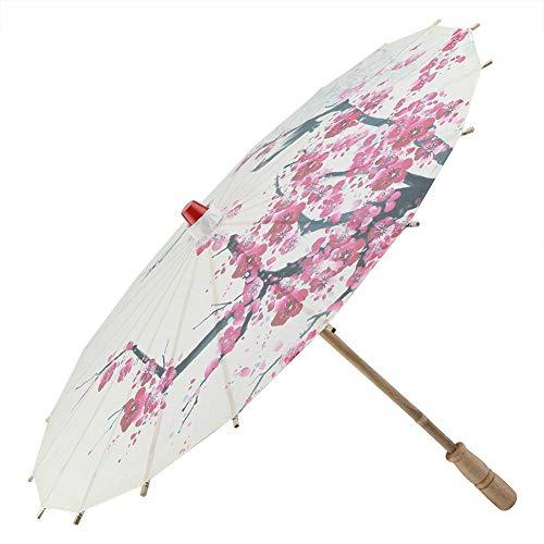 Paraguas de papel, Retráctil clásico hecho a mano aceite papel paraguas pintura accesorios de baile a prueba de lluvia sombrilla con flores de ciruelo y mango de madera