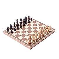 HaiNing Zheng チェスの木製の折りたたみ磁気セットソリッドウッドチェス盤磁気ピースエンターテインメントボードゲーム子供の贈り物 チェッカーボード (Color : ベージュ, Size : Wooden 30x30cm)