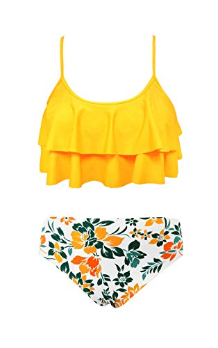 SHEKINI Girls Floral Printing Bathing Suits Ruffle Flounce Two Piece Swimsuits (Yellow - B, 10-12 Years)