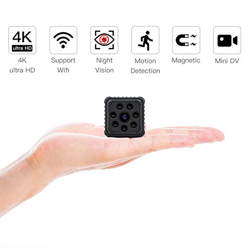 SZMDLX Mini Camera 4K/1080P HD Spy Hidden Camera Wireless Home Security Surveillance, Portable Nanny Cam Indoor/Outdoor Camcorder with Motion Detection Night Vision
