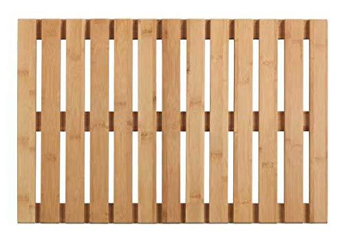 WENKO Baderost Indoor & Outdoor Bambus - Badematte, Bodenrost für Dusche, Bad, Pool, Sauna mit rutschhemmender Unterseite, Bambus, 40 x 60 cm, natur