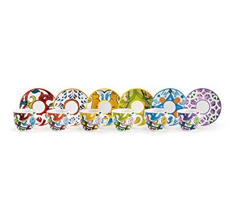 Excelsa Lisbona Set 6 Tazzine da caffè con Piattino, Porcellana, Multicolore