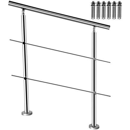 BuoQua Französischer Balkon Geländer Bausatz, Treppengeländer 100 cm, Edelstahl Handlauf Boden Montage mit 2 Querstangen, Hauseingang Balkongeländer Balkon Bausatz, Handlauf Innenbereich Außenbereich