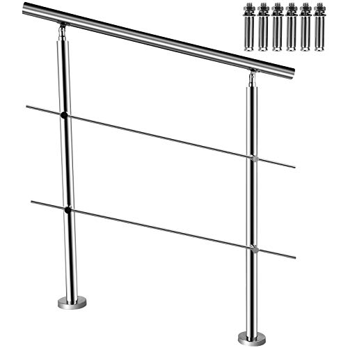 BuoQua Rambarde Escalier en Acier Inox 100cm Balustrade Garde-Corps Inox Rampe Escalier avec 2 Barres Transversales de Sécurité Hauteur 107 cm, Marches Intérieur Extérieur Terrasse Jardin Balcon