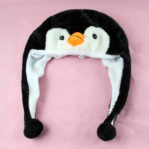 CADANIA Kapelusz pingwin zwierzę maskotka pluszowa ciepła ciepła czapka czapka z kreskówką - czarno-biała