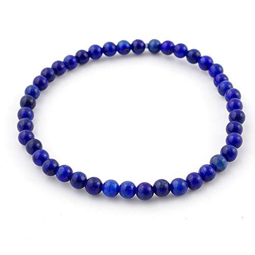 ARITZI - Pulsera elástica de Bolas de 4 mm en Mineral Natural de Lapislázuli