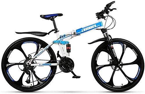Feeyond High Carbon Steel Double Suspension Mountain Bike, Adult Bicycle, 24/26 Inch Wheels, Full Suspension Mountain Bike Gear Double Disc Brake, 6 Cutter Discs,Blue 21 Speed