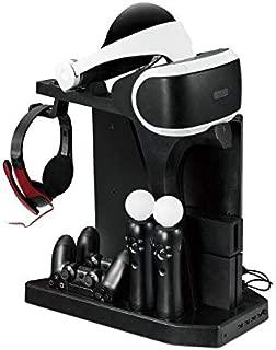 Lenboken-KJH All-in-One PSVR Charging Display Stand PlayStation VR Vertical Stand Cooling Fan with Controller Charging Station, PSVR Glasses & Headset Bracket ,Universal Game Disk Storage Tower PSVR2