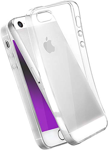 COVERbasics Cover iPhone 5 5s SE 2016 (AIRGEL 0.3mm) Custodia Trasparente Morbida Protezione Antiurto TPU Silicone Gel Gomma Super Sottile Fina Ultra Slim Compatibile con Apple iPhone 5 5s SE 2016