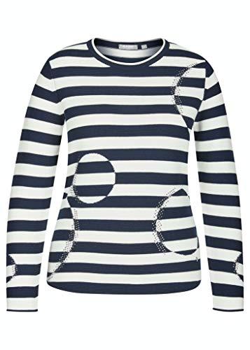 Rabe Damen Pullover mit geringeltem Muster und Glitzersteinen