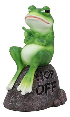 Ebros Hop Off! Rude Feisty Toad Frog Flipping The Bird Finger On Landscape Rock Statue Amphibian Toads Frogs Pond Swamp Rainforest Animal Decorative Sculpture