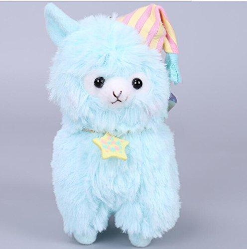 Weekendy Weiche komfortable Spielzeugpuppe Durable Plüsch Alpaka mit Pyjamas und Nightcap Plüsch Stofftiere Schlafanzug Alpaka Spielzeug für Jungen und Mädchen 14cm (blau)