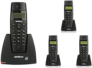 Kit Telefone sem fio digital TS 40 ID Intelbras + 3 Ramal sem fio digital TS 40 R Intelbras Preto