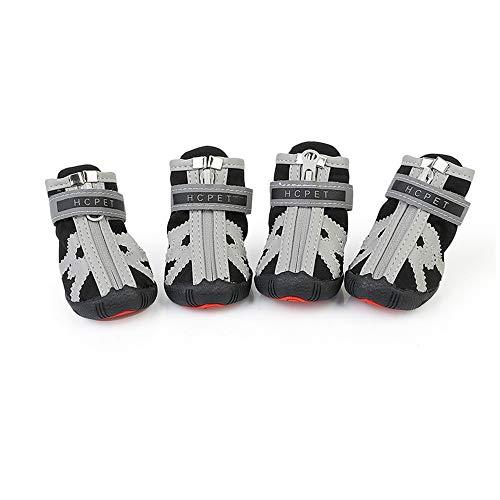Hundeschuhe Pfotenschutz, Wasserdicht Haustier Schuhe mit Reflektierenden Riemen für Hunde 4x3.3cm