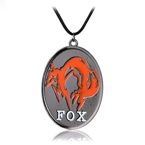 AMITD Hot Metal Gear Solid V: Das Phantom Pain Fox Logo Ovale Form orange Farbe Seilkette Kragen Halskette Emaille Anhänger