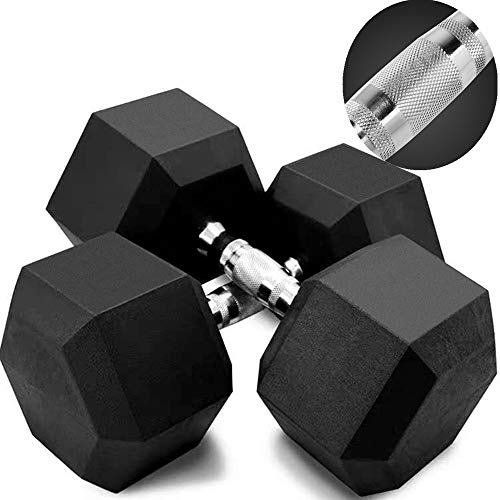 KAB 5-50 Pounds Dumbbells Grip Dumbbell Weights Hex Rubber Dumbbell with Metal Handles for Strength Training Full Body Workout, Home Gym Dumbbells(5lb, 10lb, 20lb, 30lb, 40lb, 50lb) (50(1 Pack)
