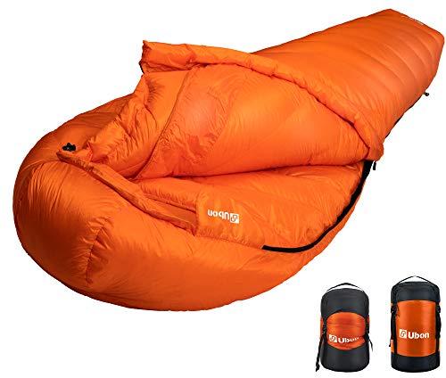 Ubon Extreme 10 Degree F 650 Fill Power Down Sleeping Bag Waterproof Mummy Sleeping Bag for Adults, Ultralight Camping Sleeping Bag Orange
