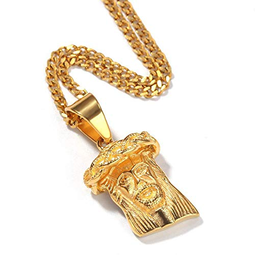 NCDFH Hip Hop Gold Color Stainless Steel Jesus Piece Pendants Necklaces for Men Jewelry with 24inch Cuban Chain 24inch Cuban Chain
