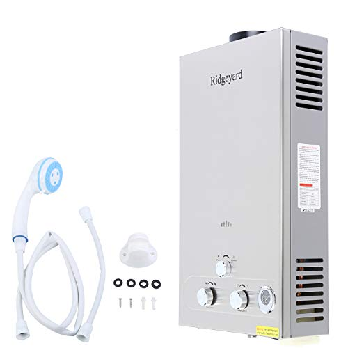 Ridgeyard 12L 3.2GPM Digital Display LPG Propane Gas Tankless Instant Hot Water Heater Boiler Burner with Shower Head Indoor Home Bathroom Supplies
